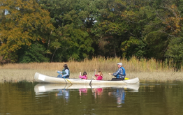 Four people rowing a canoe.