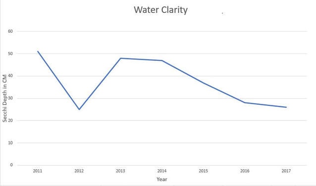 Graph showing the decline of water turbidity since 2013.